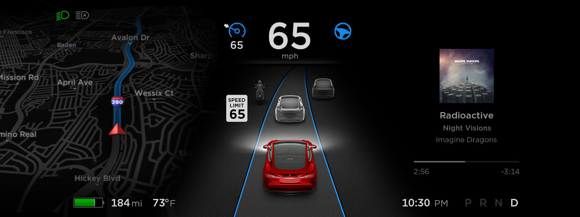 Tesla 8.0 navigation screen