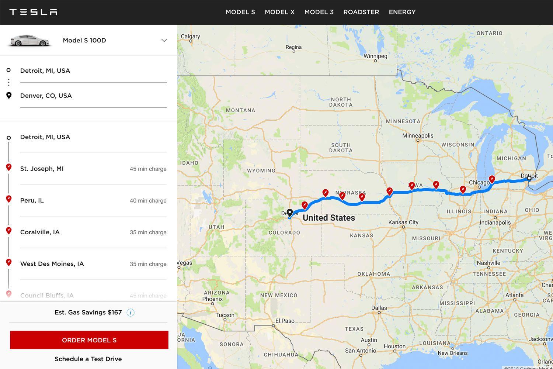 Tesla Trip Planner