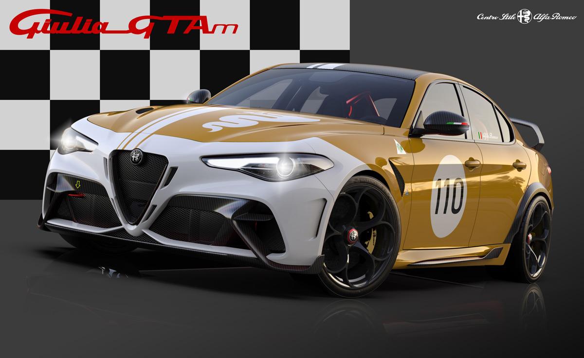 Alfa Romeo Giulia GTAm with historically influenced livery