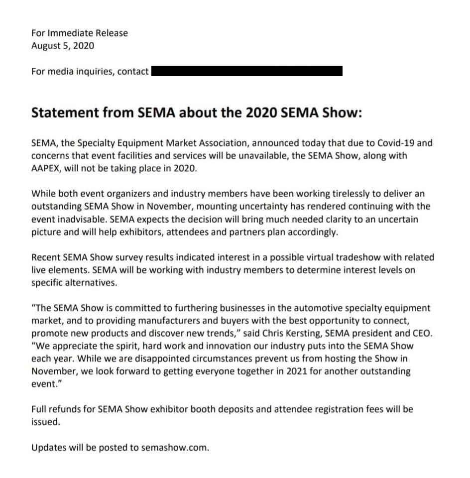 2020 SEMA Show - Letter