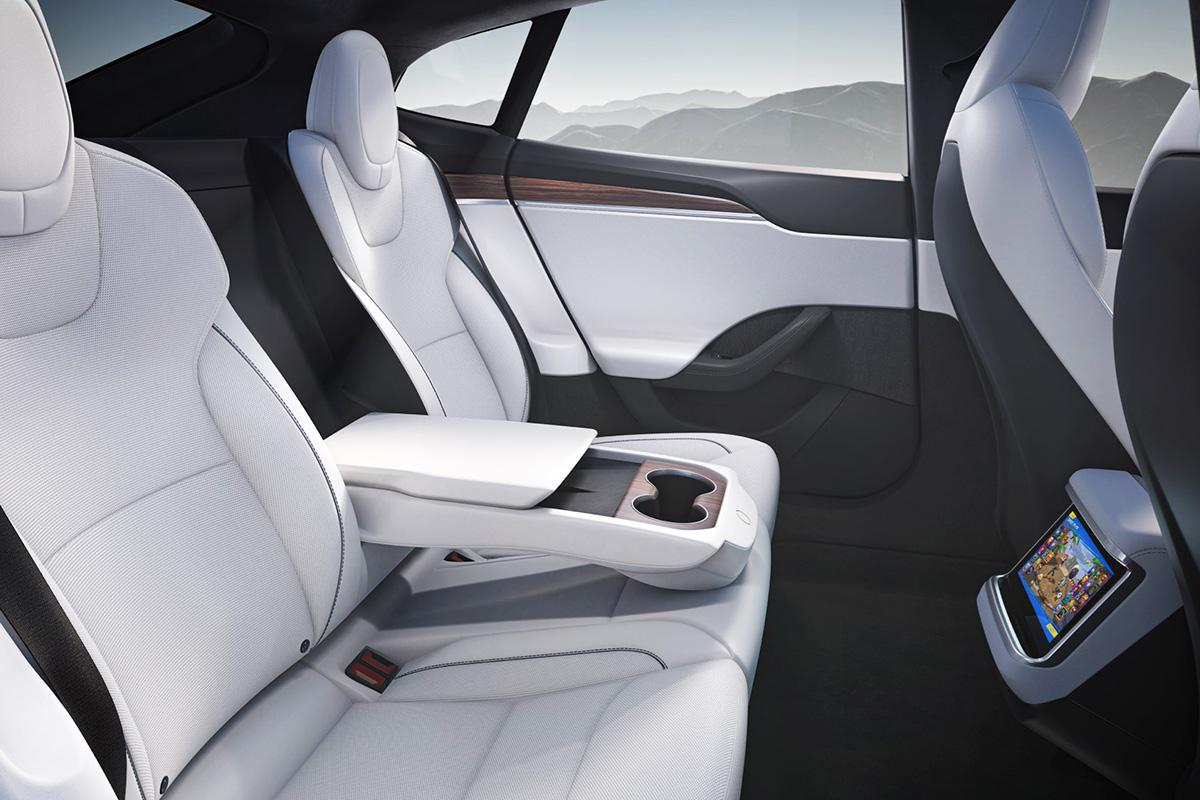 2021 Tesla Model S interior - rear